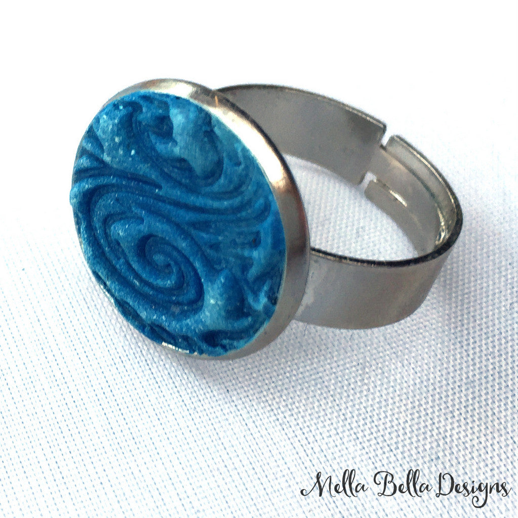 Blue Swirl Ring
