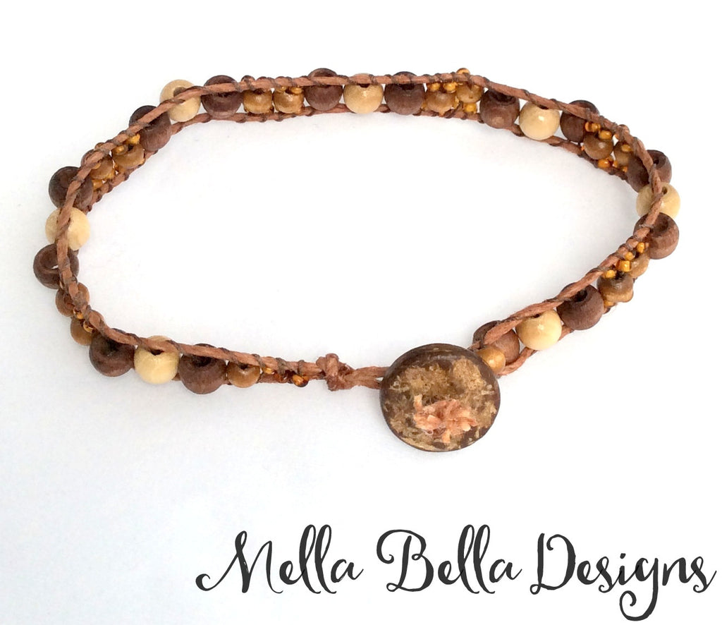 Brown wood bead & cord bracelet