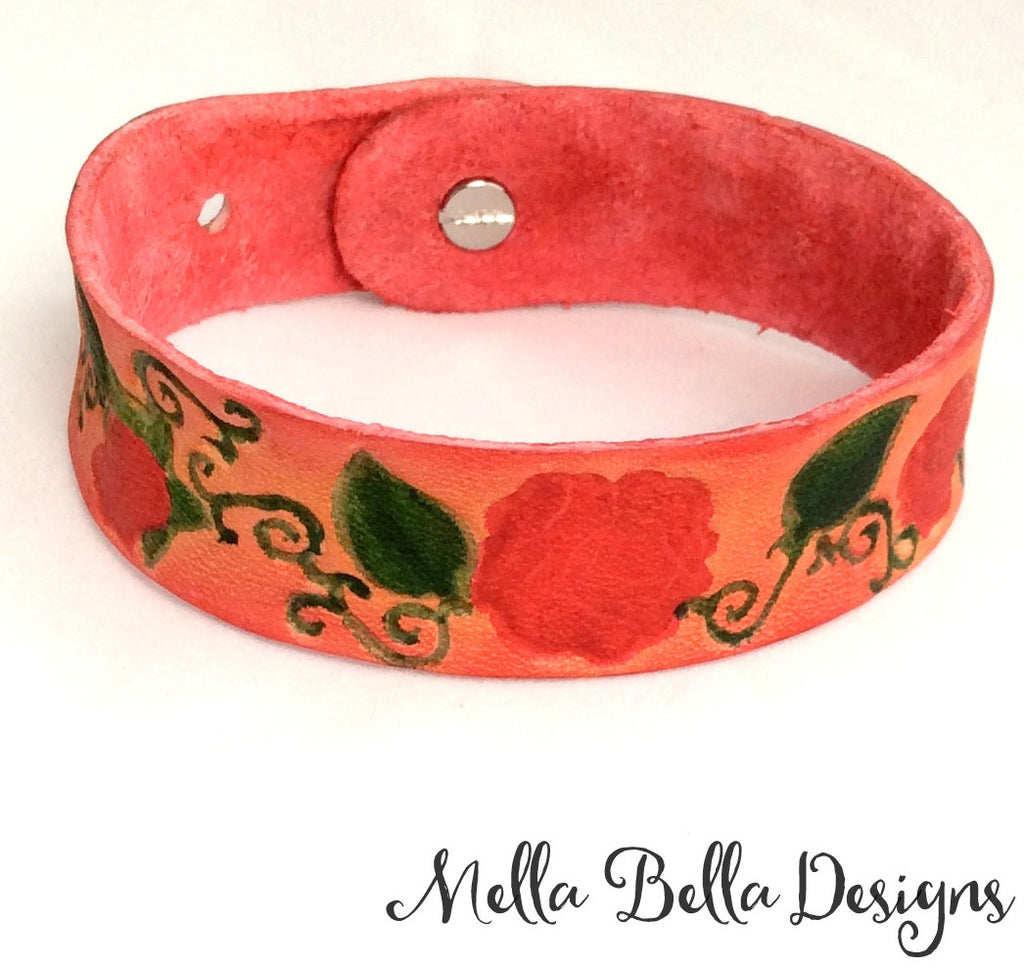 Rose & Vine Leather Bracelet