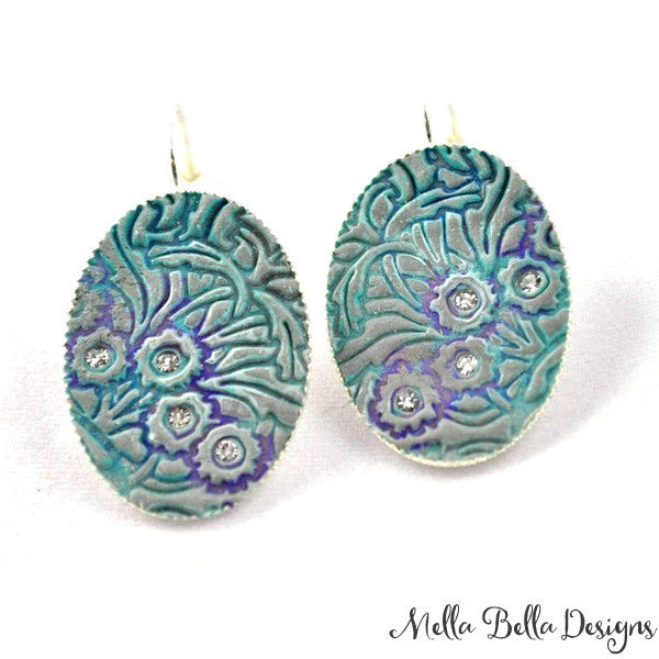Turquoise & Purple Floral Pattern Earrings