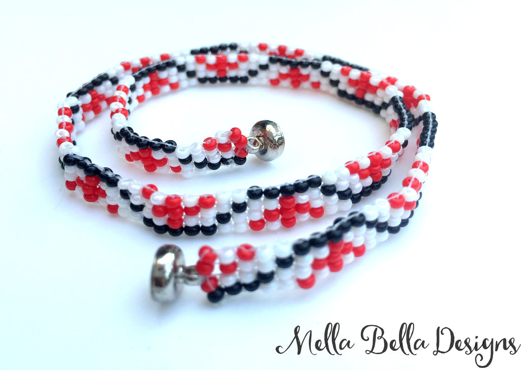 Red Pattern Wrap Bracelet