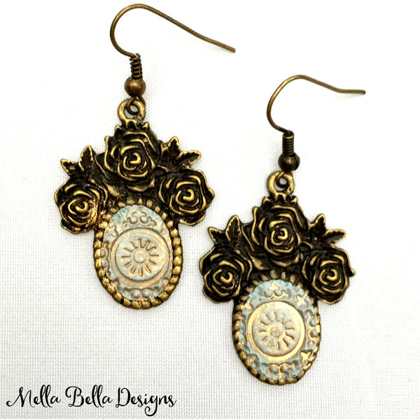 Antique Gold & Silver Floral Earrings