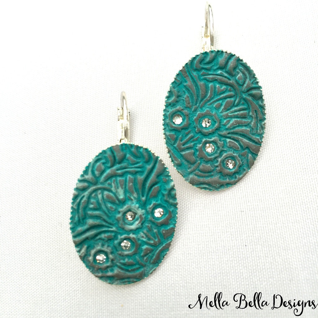 Turquoise Floral Pattern Earrings