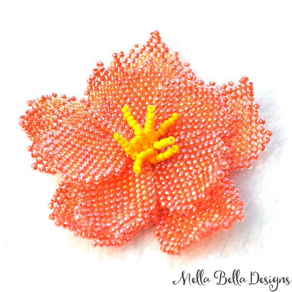 Coral Peony Brooch