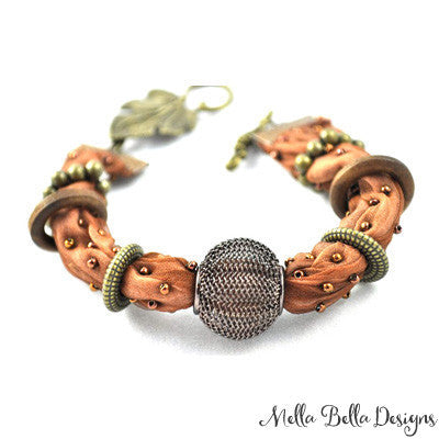 Brown & Brass Embellished Silk Bracelet