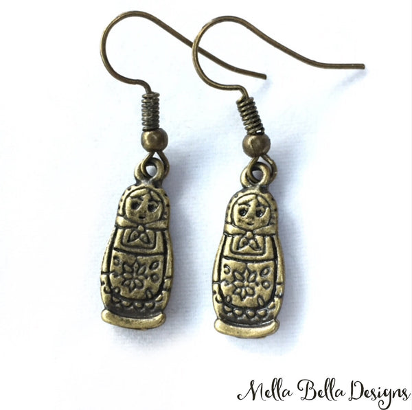 Marushka earrings - antique gold tone