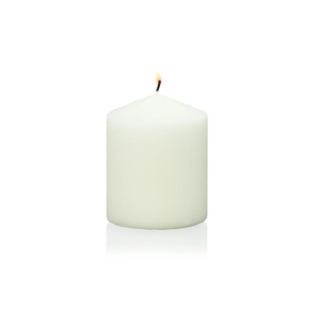 "4"" x 3"" Ivory Wrapped Pillar Candle"