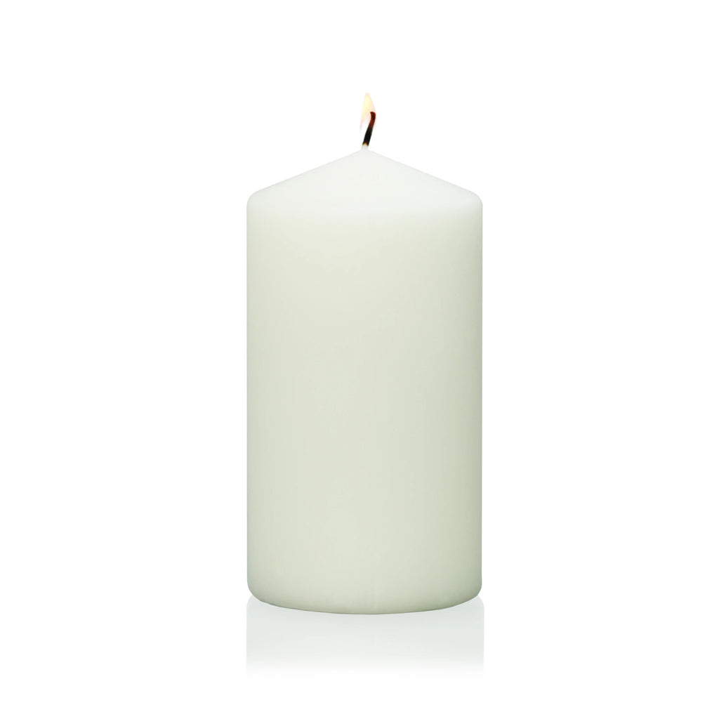 "6"" x 3"" Ivory Wrapped Pillar Candle"