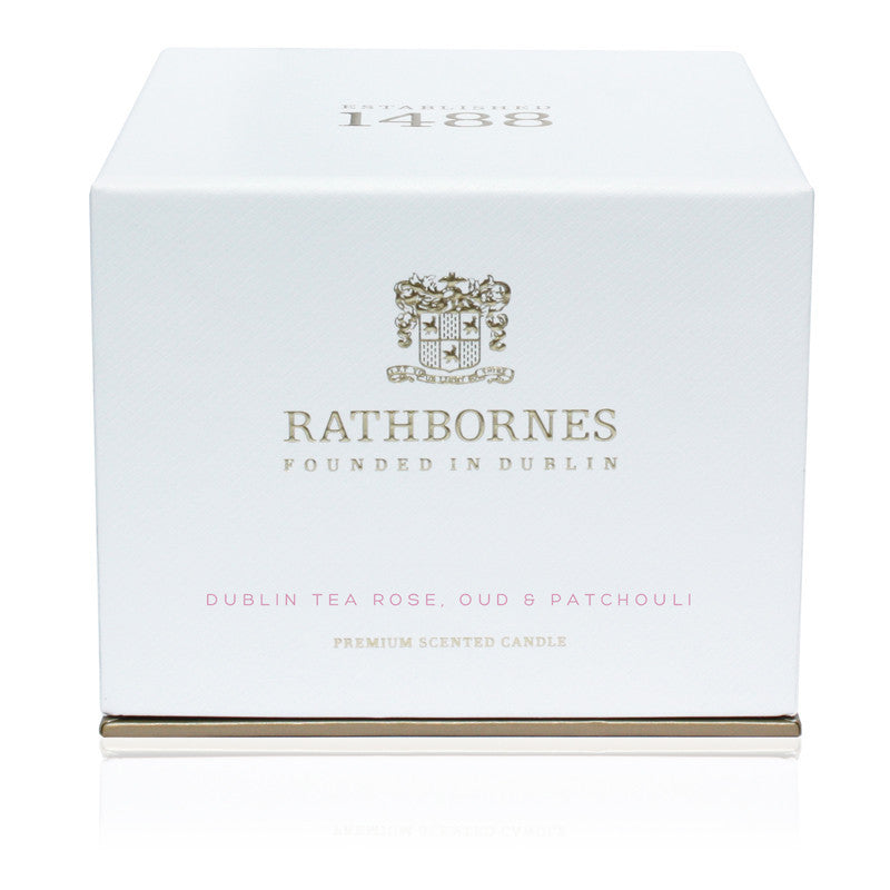 Dublin Tea Rose, Oud & Patchouli Scented Classic Candle