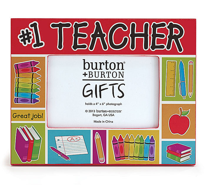 Number 1 Teacher Wooden Picture Frame for 4x6\