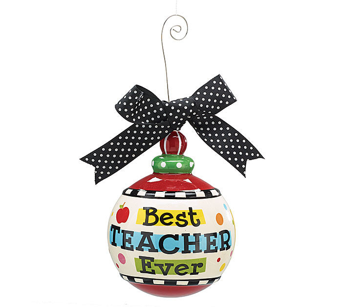 "Best Teacher Ever 4"" Christmas Tree Ornament"