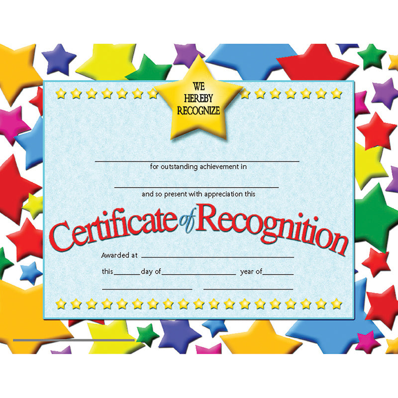 CERTIFICATES OF RECOGNITION 30 PK 8.5 X 11 INKJET LASER