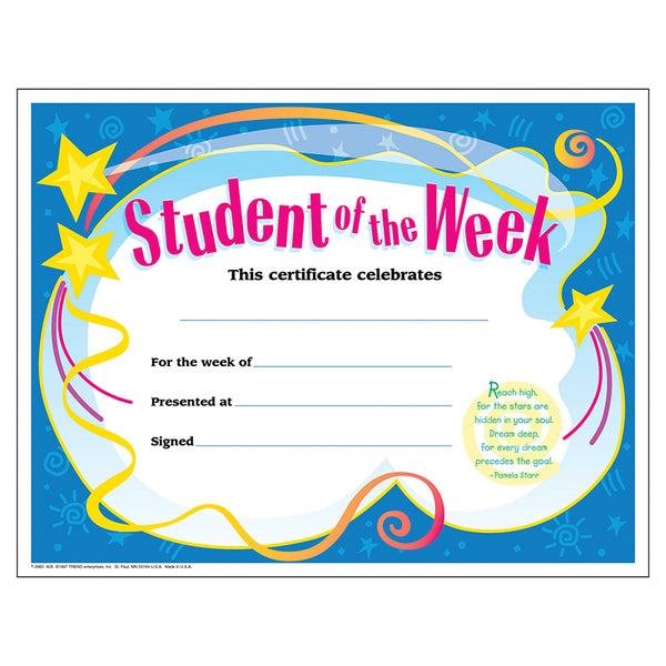 CERTIFICATE STUDENT OF THE WEEK 30/PK 8-1/2 X 11