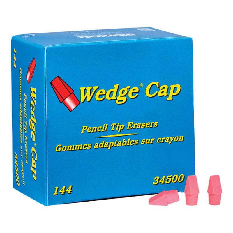 WEDGE PENCIL CAP ERASERS PINK 144PK