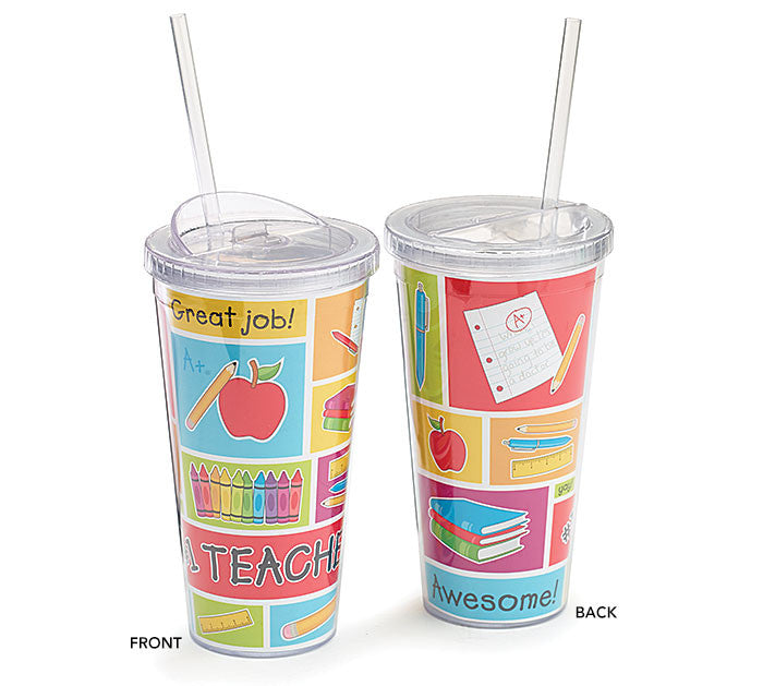 20 oz. Acrylic Teacher Travel Sippy Cup with Straw