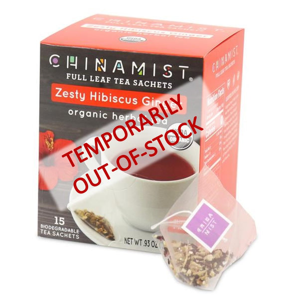 Temporarily out-of-stock: Zesty Hibiscus Ginger Organic Herbal Full Leaf Tea Sachet (15-ct.)