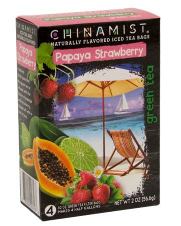 Naturally Flavored Papaya Strawberry Green Iced Tea Filter Bags