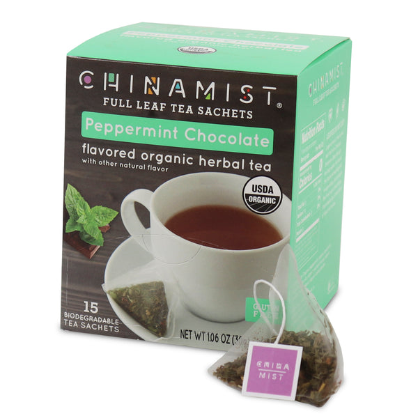 Peppermint Chocolate Organic Herbal Full Leaf Tea Sachet (15-ct.)