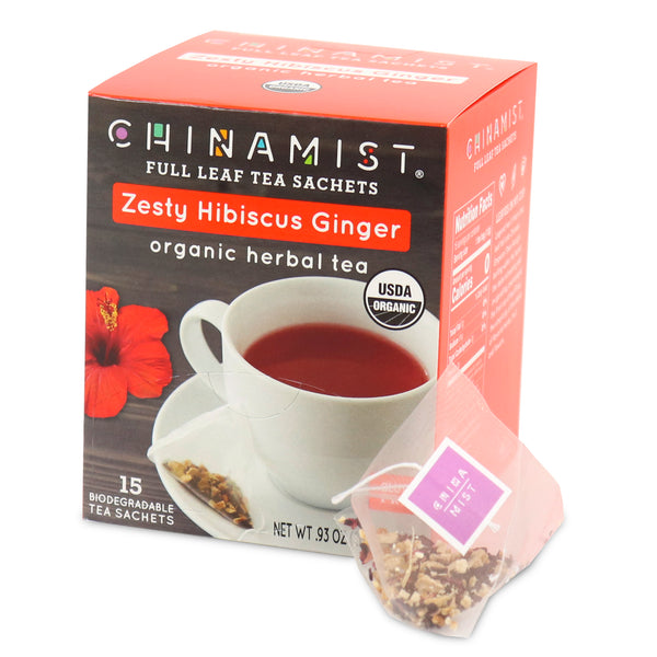 *NEW* Zesty Hibiscus Ginger Organic Herbal Full Leaf Tea Sachet (15-ct.)