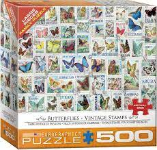 BUTTERFLIES VINTAGE STAMPS (500 PC)