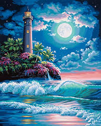 LIGHTHOUSE IN MOONLIGHT (20IN X 16IN)