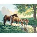 HORSES BY A STREAM (20IN X 16IN)