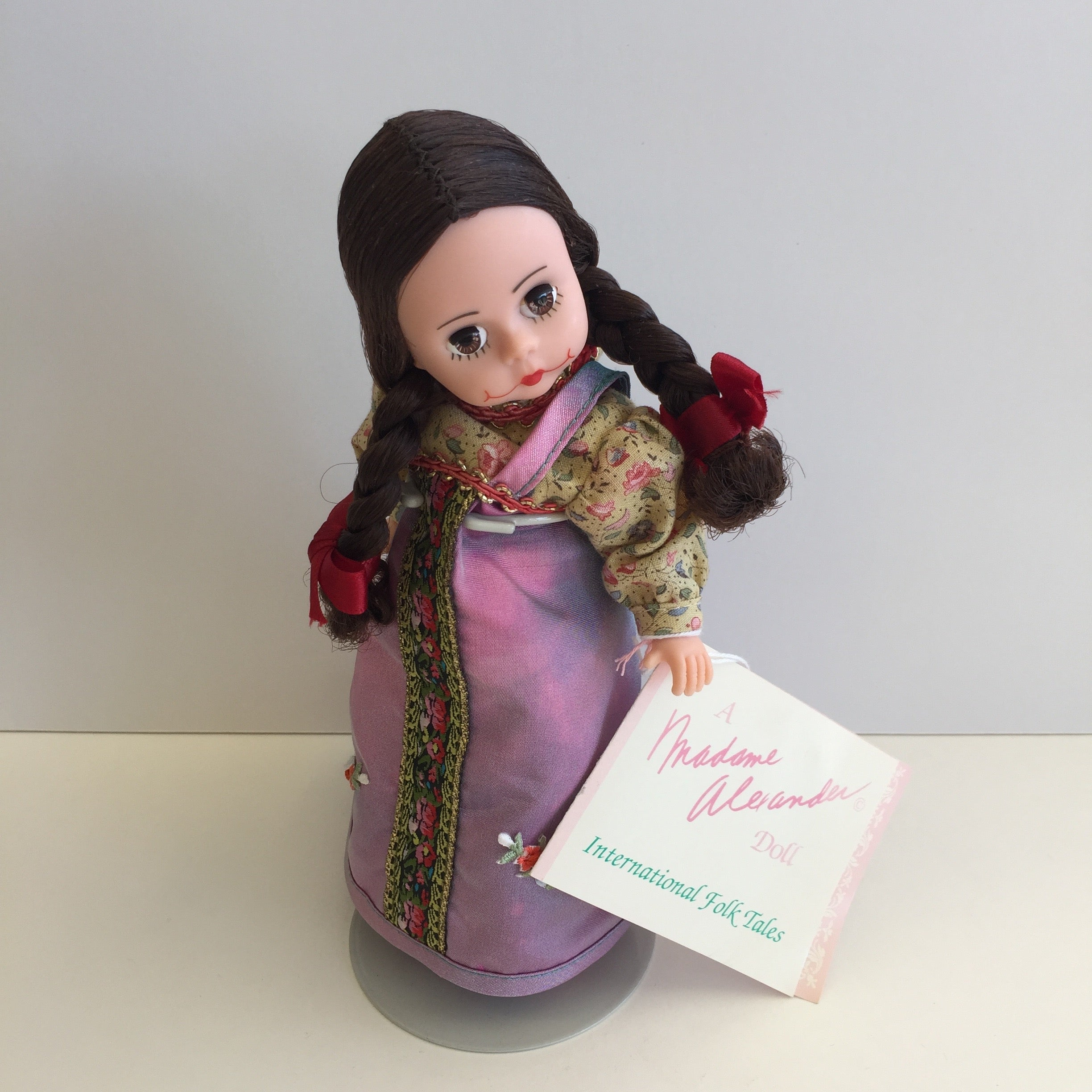 "Mint Condition 1995 Madame Alexander 8"" RUSSIA (PURPLE DRESS) Collectible Doll"