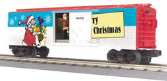 CHRISTMAS OPERATING BOX CAR W/SIGNAL MAN