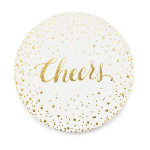 """Cheers"" Gold Foil Coaster Set"