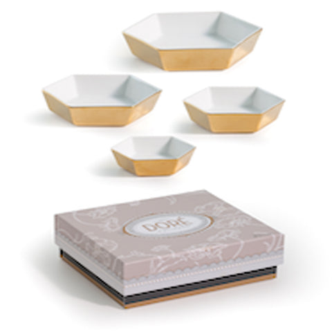 Doré Hexagon Bowls-Set of 4