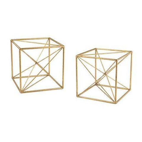 Antique Gold Metal Cubes-Set of 2