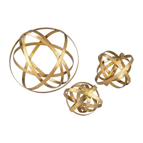 Gold Finish Metal Orbs-Set of 3