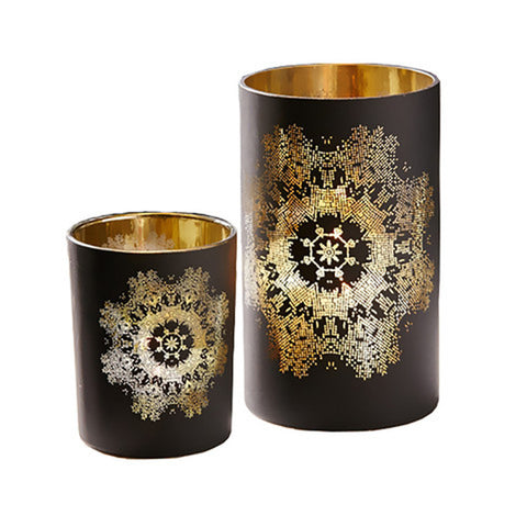 Lace Print Candle Holders
