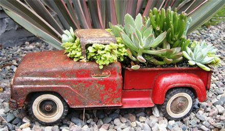 toy pickup truck used as a planter