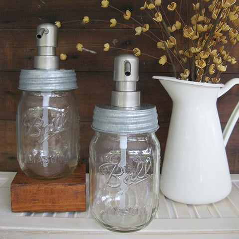 Mason Jar Soap Dispenser with Stainless Steel Pump - Clear Pint