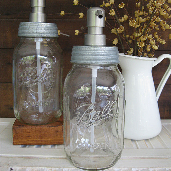 Mason Jar Soap Dispenser with Stainless Steel Pump - Clear Quart