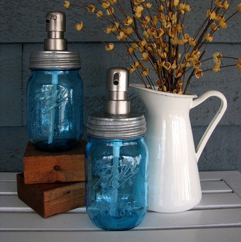Mason Jar Soap Dispenser with Stainless Steel Pump - Blue Pint Limited Heritage Edition