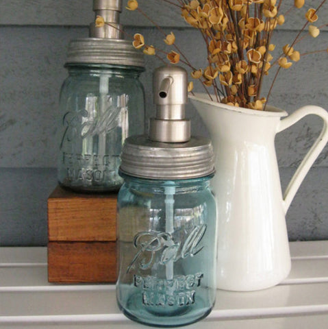 Vintage Mason Jar Soap Dispenser with Stainless Steel Pump - Vintage Blue Pint