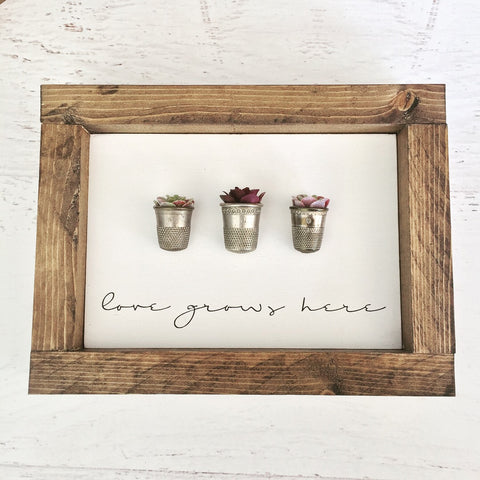 Love Grows Here - Succulents in Vintage Thimbles