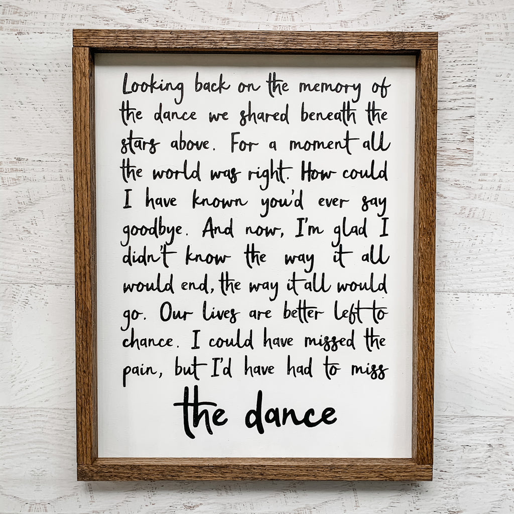 The Dance Hand Painted Sign