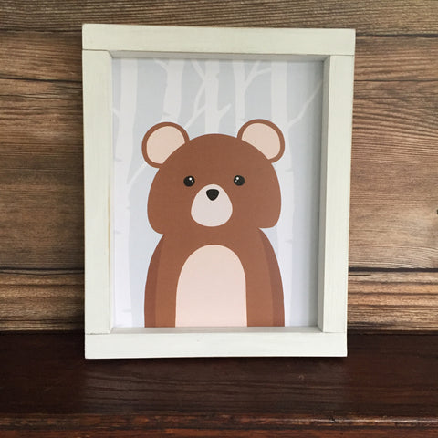 Woodland Bear with Birch Trees Nursery Toddler Wall Decor