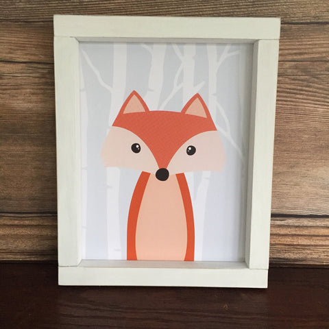Woodland Fox with Birch Trees Nursery Toddler Wall Decor