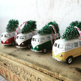 VW Bus Van Christmas Ornament with Tree on Top