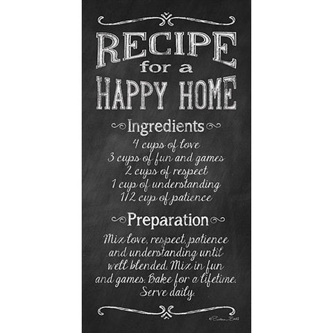 Recipe for a Happy Home Art Print