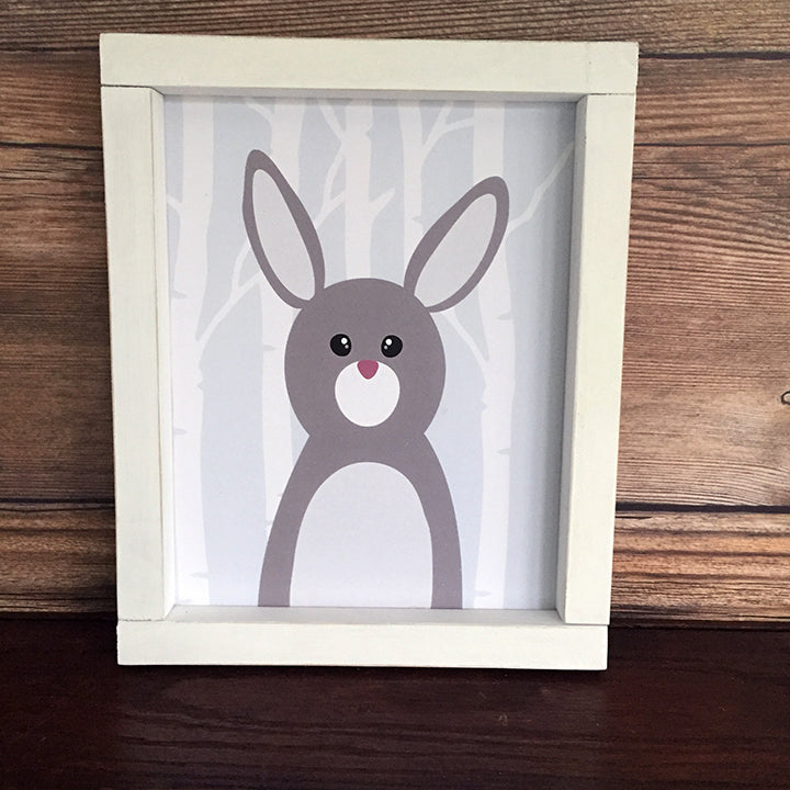 Woodland Rabbit with Birch Trees Nursery Toddler Wall Decor