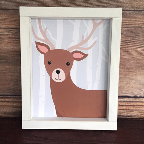 Woodland Deer with Birch Trees Nursery Toddler Wall Decor