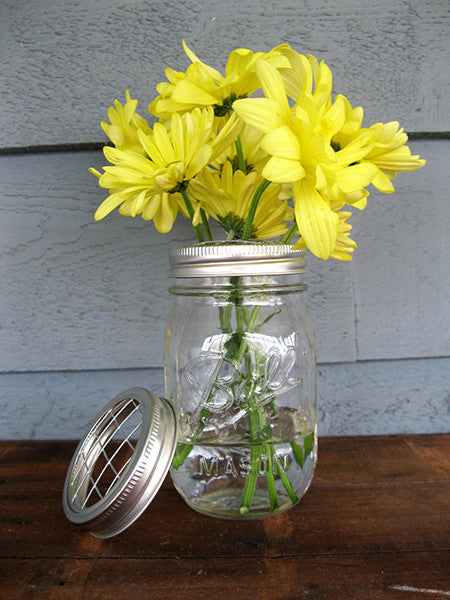 Mason Jar Vase with Flower Frog & Mason Jar Vase with Flower Frog \u2013 The Good Co.
