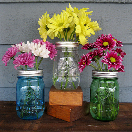 Mason Jar Vase with Flower Frog
