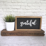 Grateful Hand Painted Framed Wood Sign