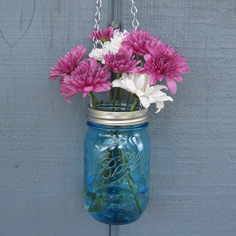 Mason Jar Vase with Flower Frog & Hanger